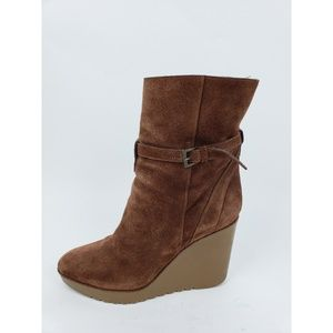 Chloe Shoes - Chloe Brown Suede Wedge Boots NEEDS REPAIR